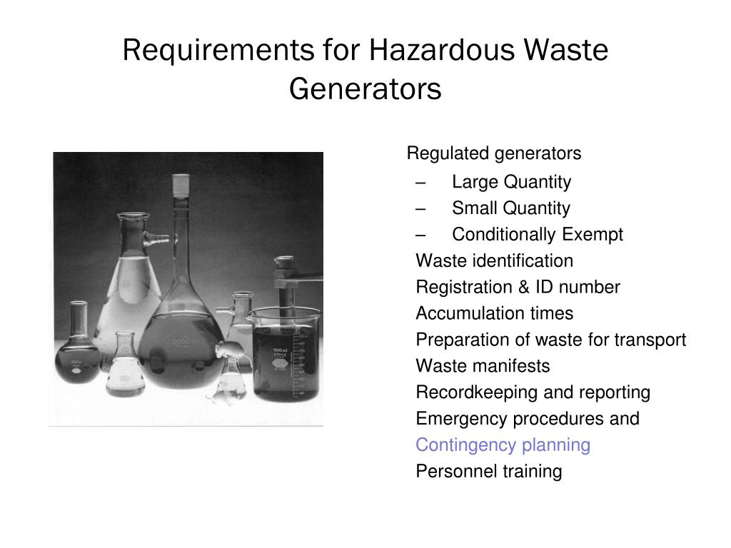 Requirements for Hazardous Waste Generators