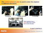 the control wheel or yoke is used to steer the airplane in different directions
