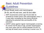 basic adult prevention guidelines43