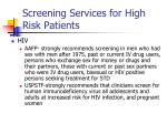 screening services for high risk patients17