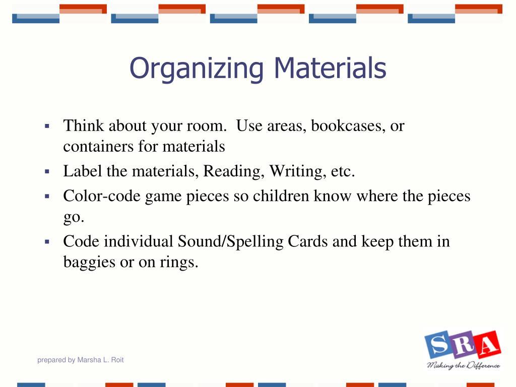 Organizing Materials