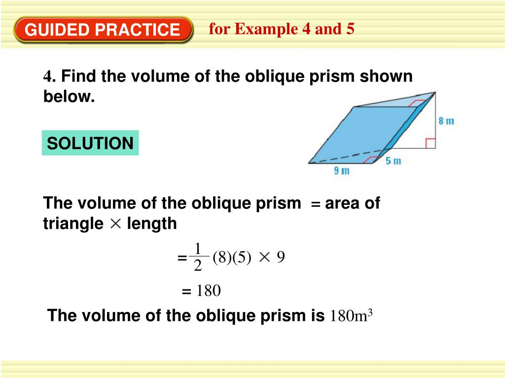 The volume of the oblique prism