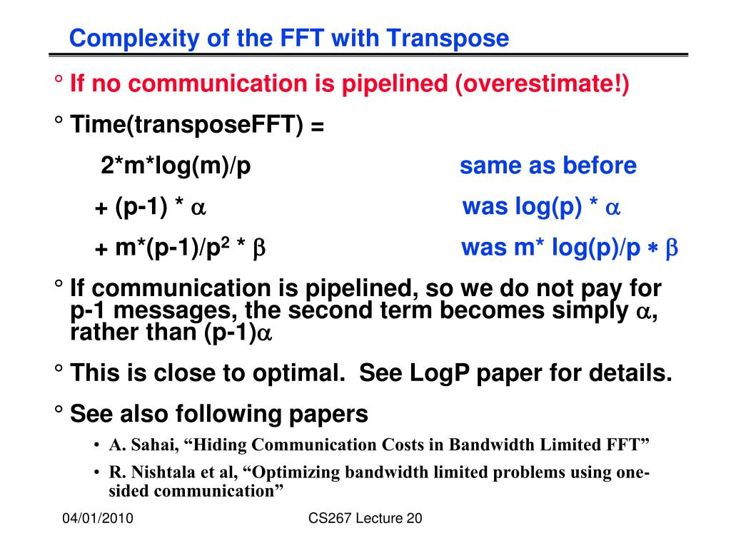 Complexity of the FFT with Transpose