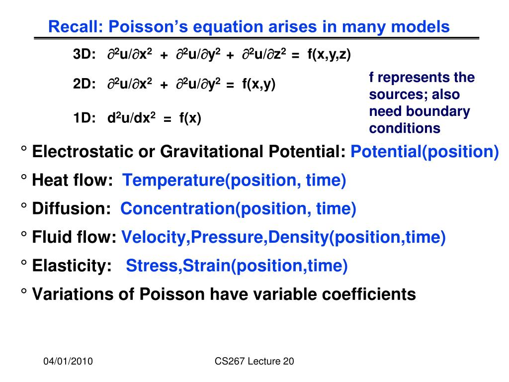 Recall: Poisson's equation arises in many models