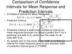 comparison of confidence intervals for mean response and prediction intervals