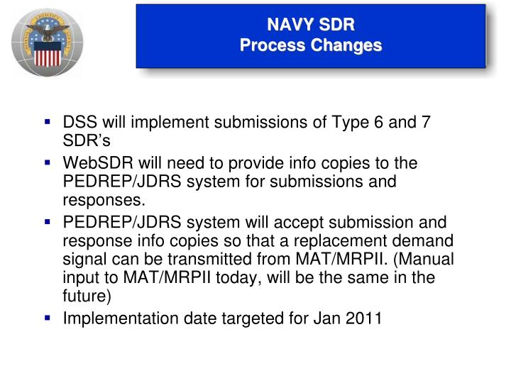 Navy sdr process changes