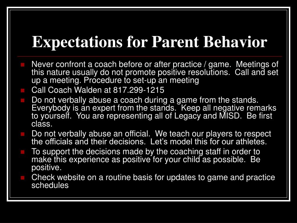 Expectations for Parent Behavior