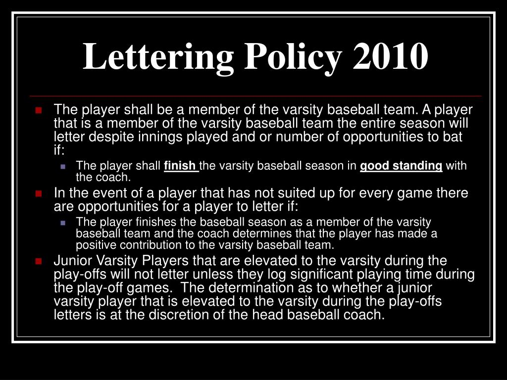 Lettering Policy 2010
