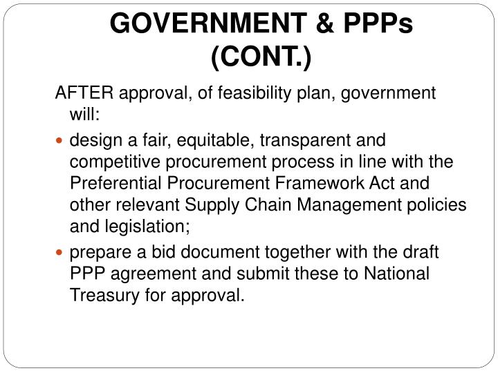 GOVERNMENT & PPPs (CONT.)