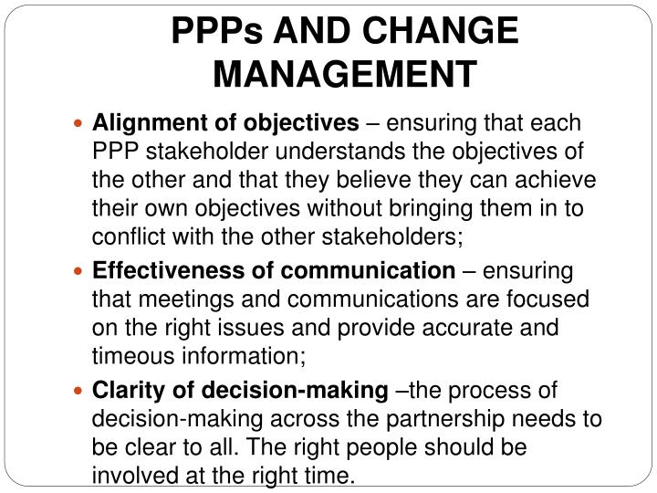 PPPs AND CHANGE MANAGEMENT