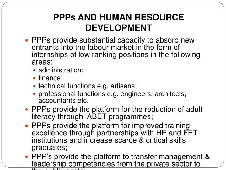 PPPs AND HUMAN RESOURCE DEVELOPMENT