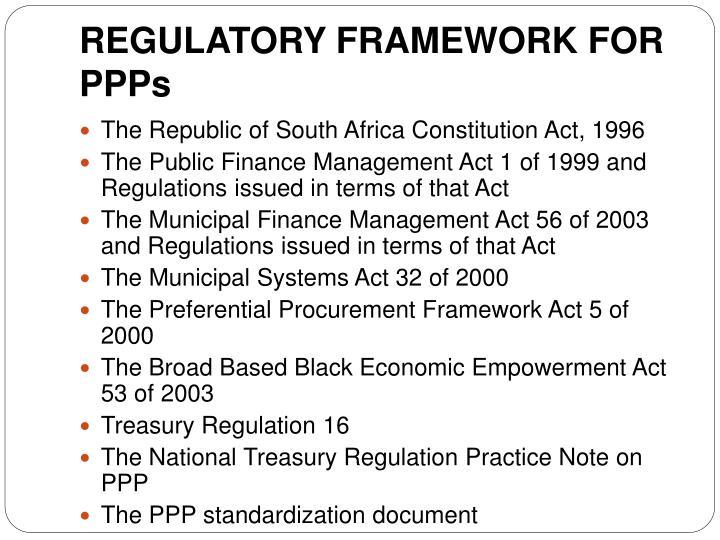REGULATORY FRAMEWORK FOR PPPs