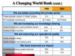a changing world bank cont
