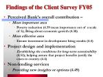 findings of the client survey fy05