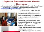impact of bank assistance in albania governance