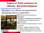 impact of bank assistance in albania rural development