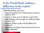 is the world bank making a difference in the region