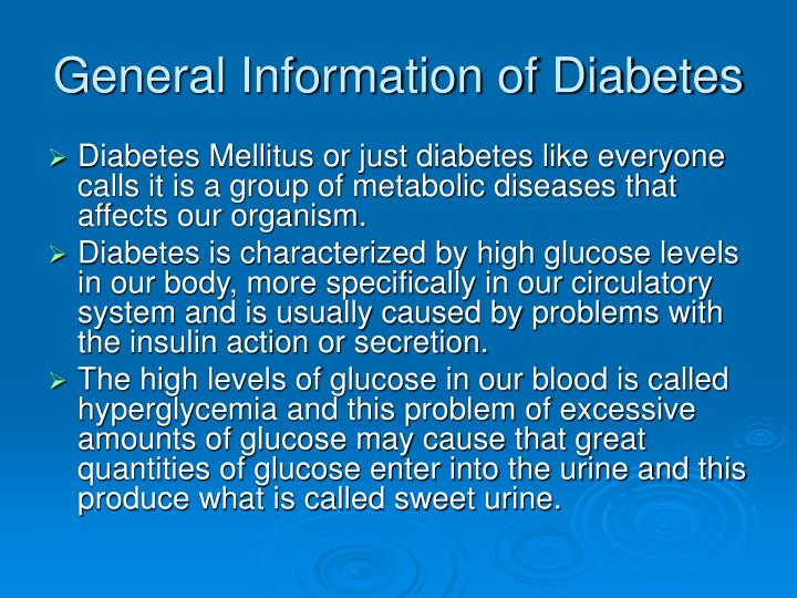 General information of diabetes