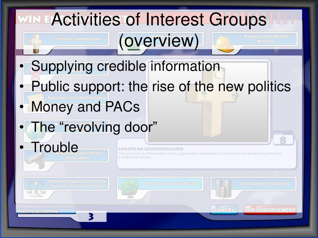 Activities of Interest Groups (overview)