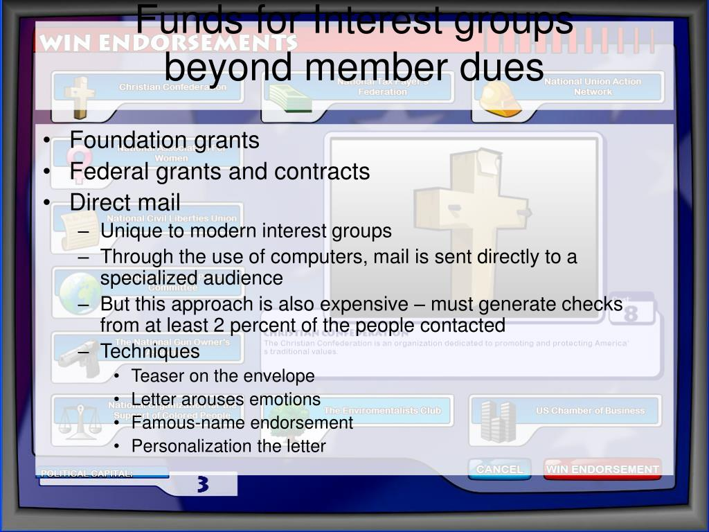 Funds for Interest groups