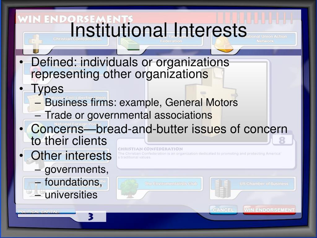 Institutional Interests