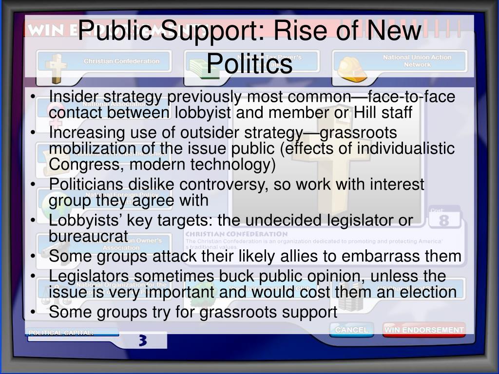 Public Support: Rise of New Politics