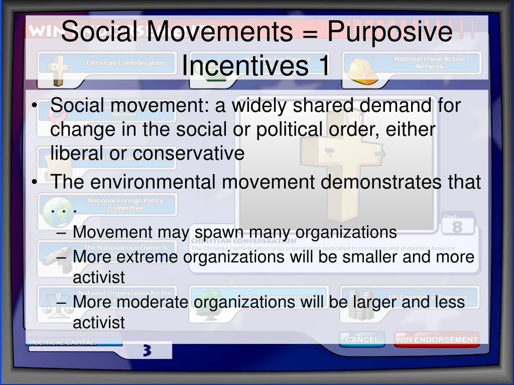 Social Movements = Purposive Incentives 1
