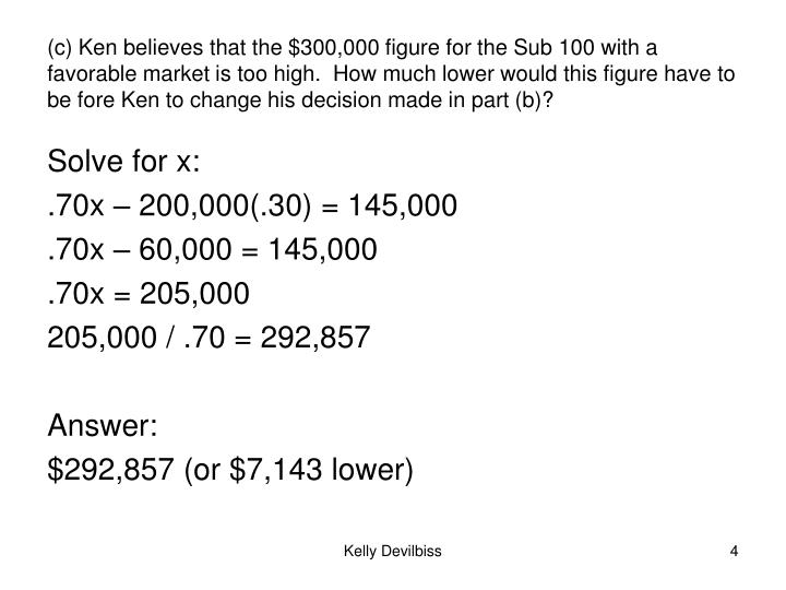 (c) Ken believes that the $300,000 figure for the Sub 100 with a favorable market is too high.  How much lower would this figure have to be fore Ken to change his decision made in part (b)?