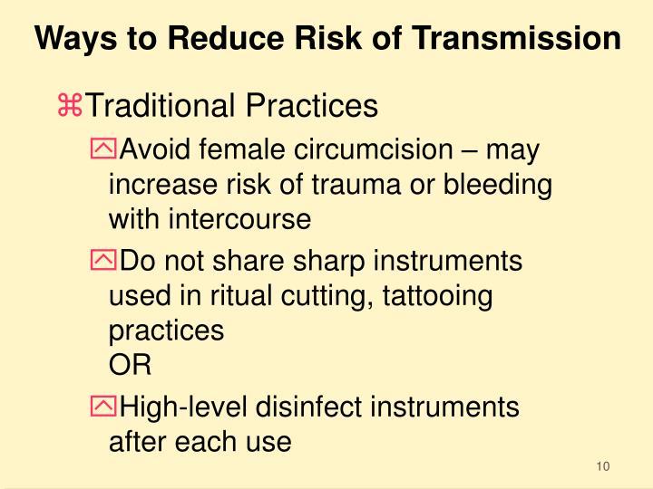 Ways to Reduce Risk of Transmission