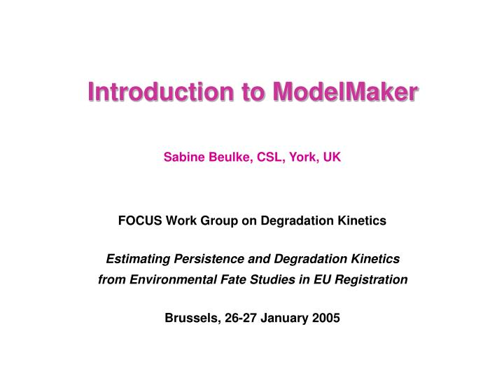 introduction to modelmaker n.