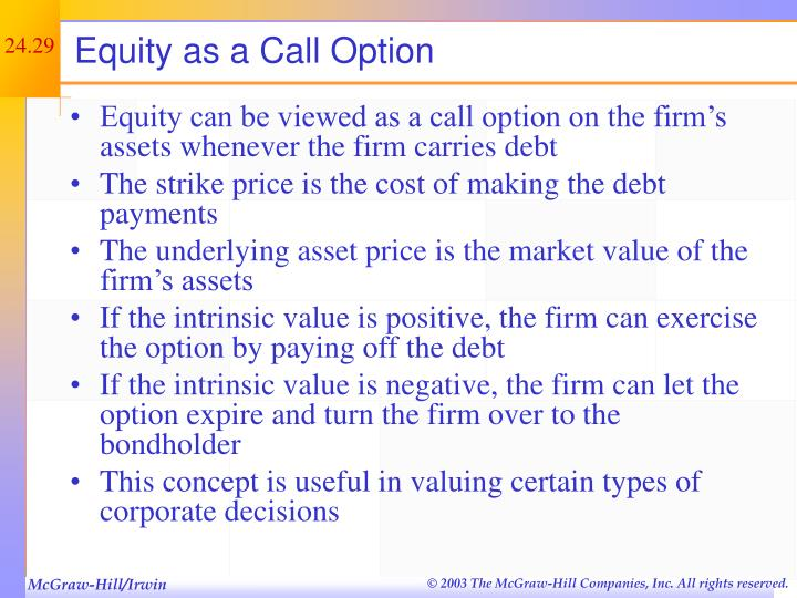 Equity as a Call Option