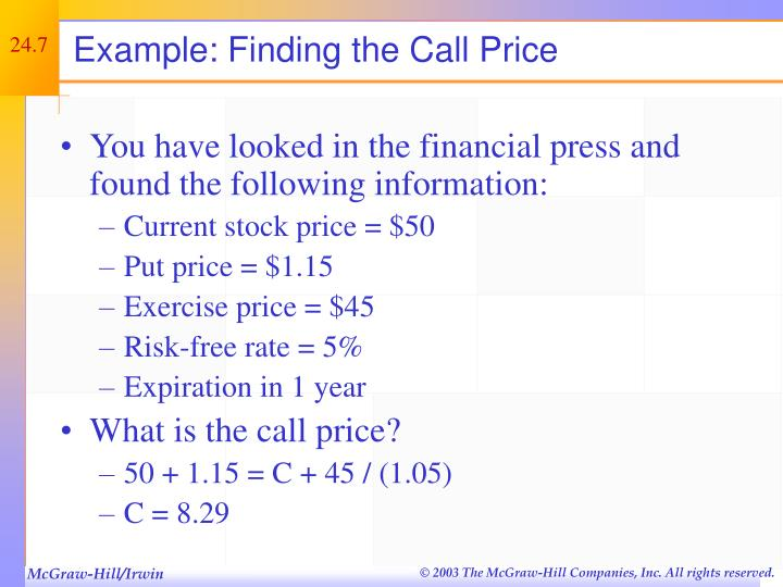 Example: Finding the Call Price