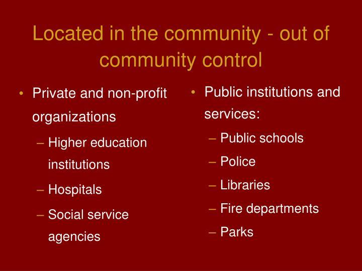 Private and non-profit organizations