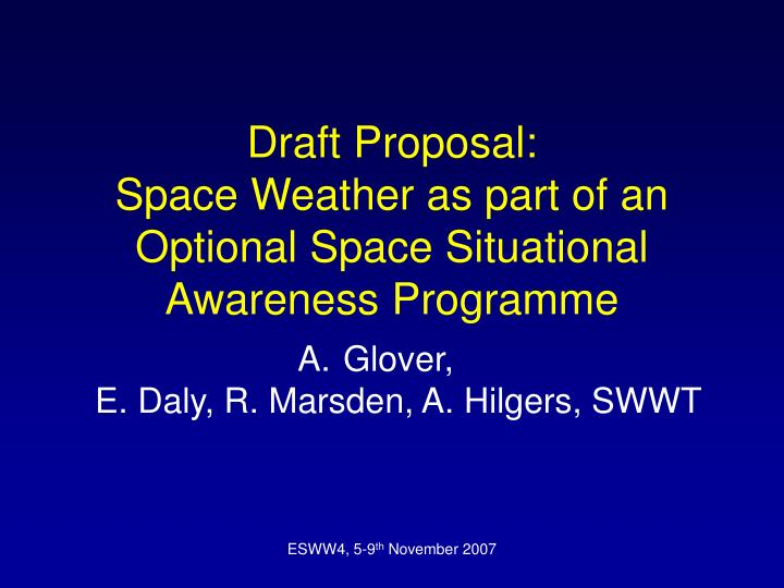 draft proposal space weather as part of an optional space situational awareness programme n.