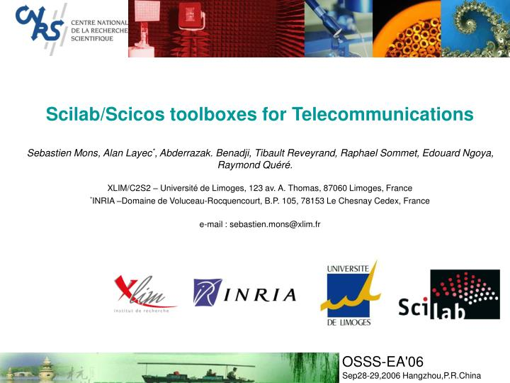 PPT - Scilab/Scicos toolboxes for Telecommunications