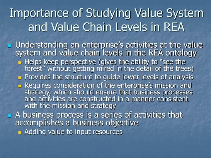 Importance of Studying Value System and Value Chain Levels in REA