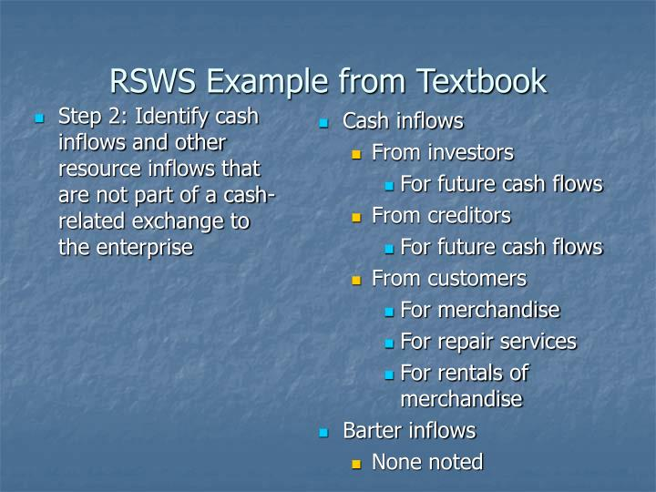 Step 2: Identify cash inflows and other resource inflows that are not part of a cash-related exchange to the enterprise