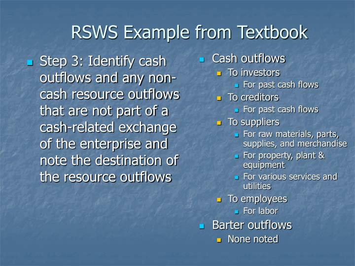 Step 3: Identify cash outflows and any non-cash resource outflows that are not part of a cash-related exchange of the enterprise and note the destination of the resource outflows