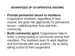 advantages of co operative housing