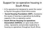 support for co operative housing in south africa