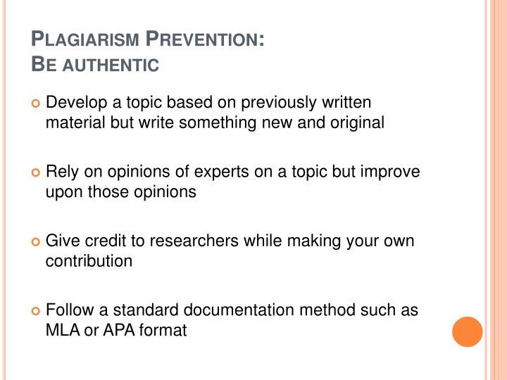 Plagiarism Prevention: