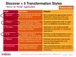 discover 5 transformation styles as is to to be application