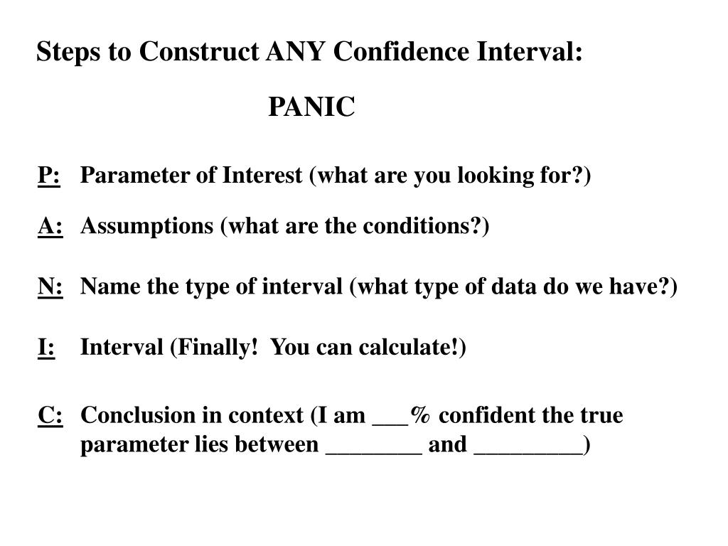 Steps to Construct ANY Confidence Interval: