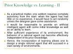 prior knowledge vs learning ii