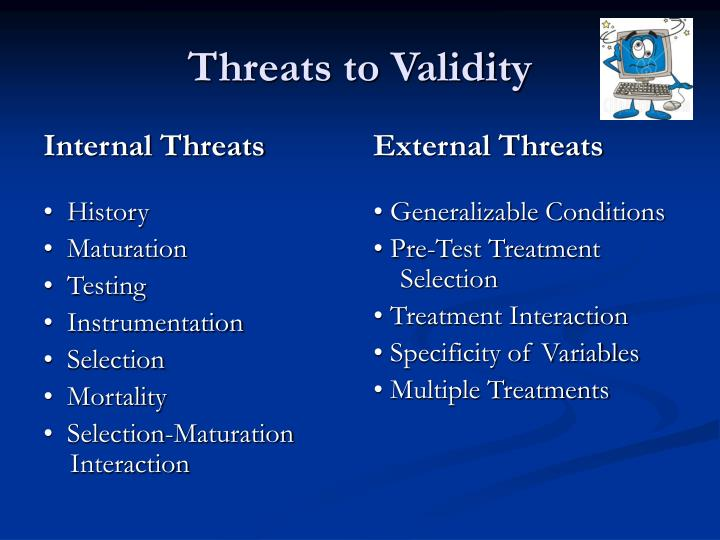 threats to research validity 6/4/10 1 designing quantitative research katie rommel-esham education 504 threats to validity factors other than the independent variable.
