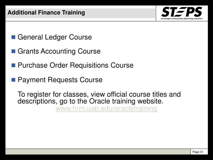 Additional Finance Training