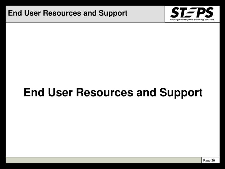 End User Resources and Support