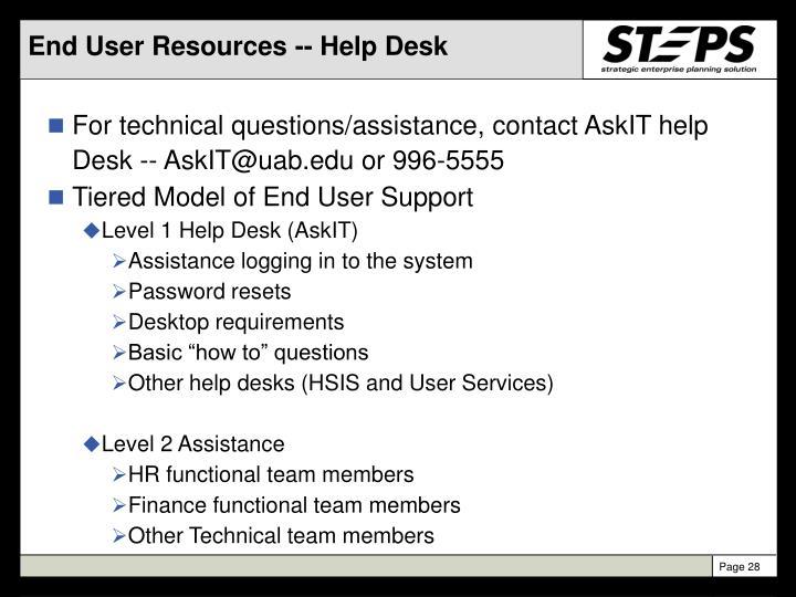 End User Resources -- Help Desk