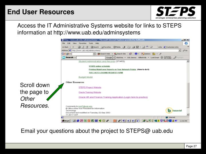 End User Resources
