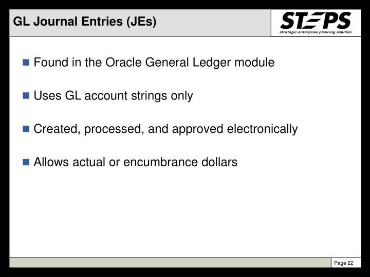 GL Journal Entries (JEs)